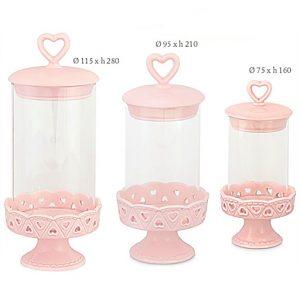 Alzata portaconfetti rosa antico ciascuna alzatina in vetro è dotata di un coperchio in ceramica ermetico