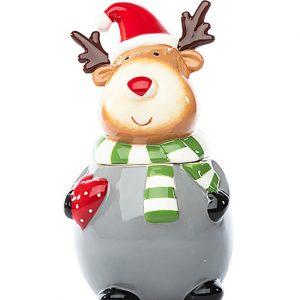 Barattolo natalizio, con coperchio a forma di renna, l'accessorio perfetto per portare nelle vostre cucine il tocco magico del Natale. Ottima idea regalo.