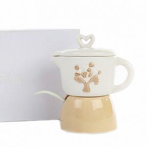 Bomboniera Moka zuccheriera disponibile in 2 modelli. Il coperchio con impugnatura a forma di cuore è in ceramica bianca.