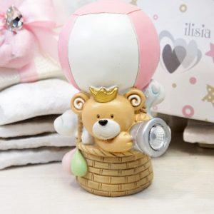 Bomboniera orsetto led rosa realizzato in resina, nuova collezione 2020. Ideale per battesimo.