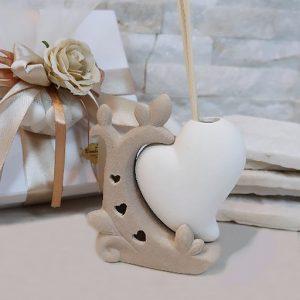 Bomboniera profumatore ramo cuore, con led al suo interno.Incluso nel prezzo: bastoncini, scatolina originale.
