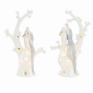 Bomboniera sposi su albero della vita realizzata in porcellana con la funzione anche di lanterna grazie il led al suo interno