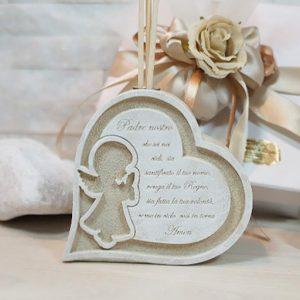 """Profumatore Battesimo angelo, decorato con incisione del """" Padre nostro"""". Una bomboniera dallo stile unico importante per mantenere vivo negli invitati il ricordo del giorno più importante della vostra vita."""