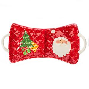 Vassoio natalizio in ceramica. Bellissimo effetto per chi riceve questo bel regalo. Bomboniere utili.