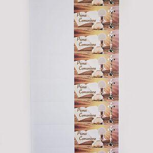 """Bigliettino Prima Comunione da stampare o stampati, realizzati con cartoncino bianco liscio di medio spessore. Decorati con simbolo e scritta """"Prima Comunione""""."""