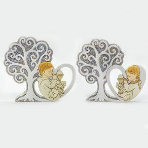 Bomboniera prima comunione albero della vita realizzato in resina, assortiti in due modelli: maschietto, femminuccia.