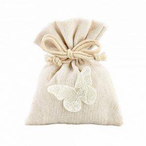 Sacchetto con farfalla ricamata. Sacchetto realizzato in cotone. Ideale per ogni evento.