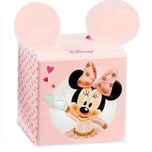 Scatolina nascita Disney Minnie realizzati in cartoncino rigido bianco e rosa. Sul lato frontale è disegnata una tenerissima Minnie