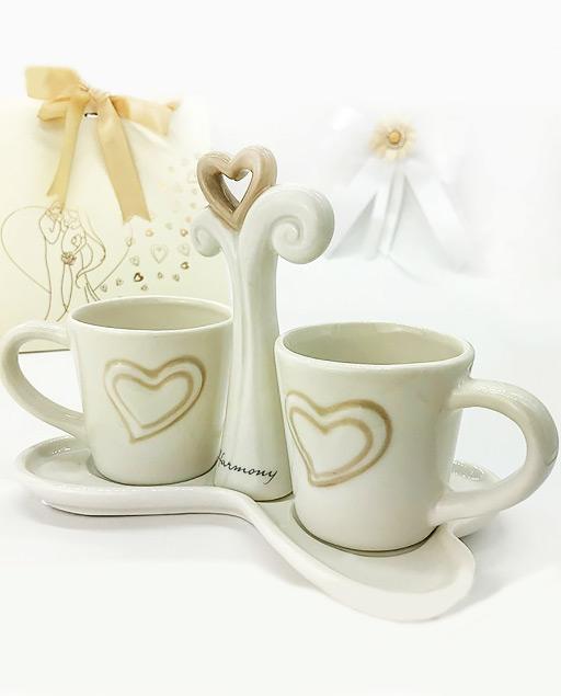 Bomboniere Matrimonio Harmony.Set 2 Tazze Caffe In Ceramica Bianca Linea Harmony Millemotivi Com