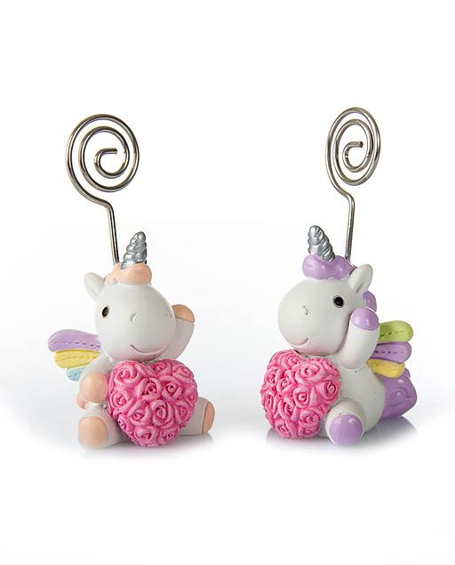 Memoclip Unicorno realizzato in resina con un cuore rosa al centro