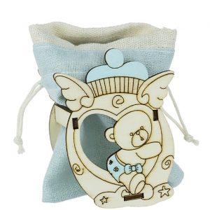 Portaconfetti orsetto baby bimba realizzato in legno con sacchettino celeste. Ideale per nascita, battesimo,
