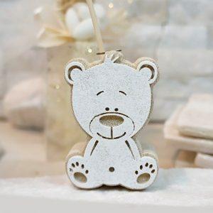 Profumatore orsetto realizzato in polvere di marmo. Incluso nel prezzo: fragranza, bastoncini, scatolina originale