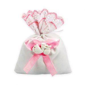 Sacchetto nascita cicogna rosa con applicazione cicogna in gesso. Sacchetto in pizzo sangallo rosa.