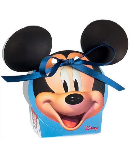Scatolina portaconfetti Disney Topolino realizzata in cartoncino rigido bianco e azzurra