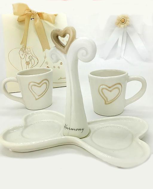 Vassoio bomboniera per matrimonio anniversario albero della vita 2 tazze caffè p