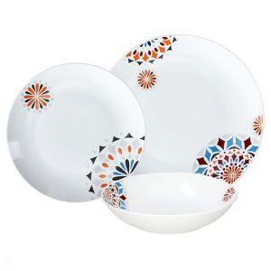 Servizio di piatti Anice Tognana realizzati in porcellana. Servizio composto da 18 pezzi: 6 piatti piani (diametro 27 cm), 6 piatti fondi (21 cm), 6 piatti dessert (21 cm). Utilizzabili in microonde, lavabili in lavastoviglie.