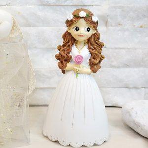 Bomboniera prima comunione bimba ricciola realizzata in resina, con abiti eleganti prima comunione