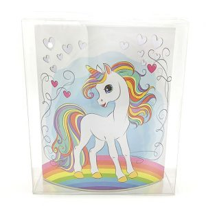 Bomboniera lampada Unicorno notturna realizzata in cartone rigido con raffigurazione di un coloratissimo unicorno con arcobaleno.