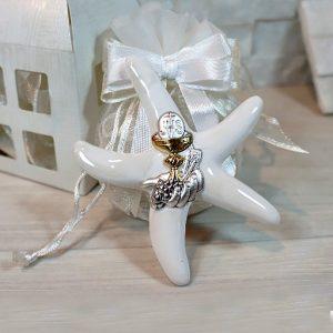 Bomboniera Prima Comunione stella marina magnete realizzata in fine porcellana ed argento