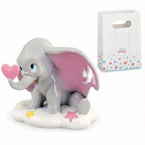 Bomboniera Dumbo Disney, una perfetta riproduzione in miniatura del tenero elefante personaggio Walt Disney, realizzata in resina lucida e curata nei dettagli