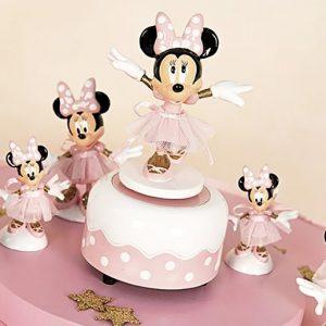Carillon Minnie Disney , bomboniera realizzata in resina, la statuetta di Minnie è raffigurata con abiti da ballerina e tutù realizzato in tulle