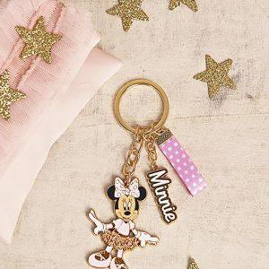 Sacchetto Minnie Disney , con portachiavi Minnie realizzato inmetallo dorato con 3 pendenti: personaggio Minnie Ballerina,