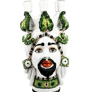 Testa di moro candelabro realizzato in ceramica decorata dipinta a mano. Disponile Uomo e Donna. Il prezzo è riferito ad una singola Testa di moro.