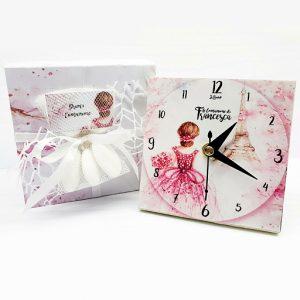 Bomboniera orologio con decoro ballerina realizzato in legno, personalizzabile con il vostro nome, o frase.