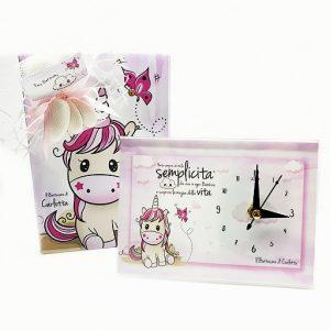 Bomboniera orologio Unicorno rosa. Personalizzabile con il vostro nome, o frase