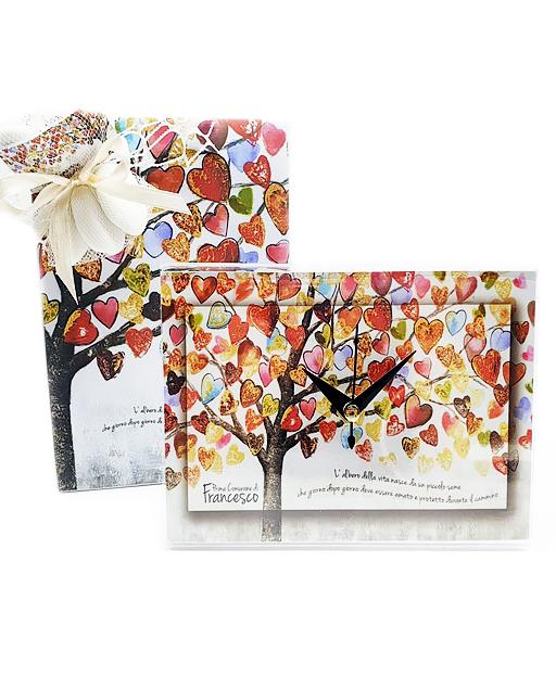Bomboniera Orologio albero della vita con cuori. Personalizzabile con il vostro nome, o frase. Una bomboniera unica ed originale