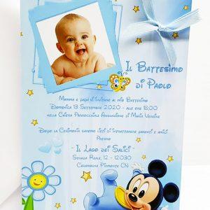 Bigliettino partecipazione Topolino Disney. Personalizzabilecon il vostro nome, o frase. Adatto per bomboniere battesimo, nascita, compleanno