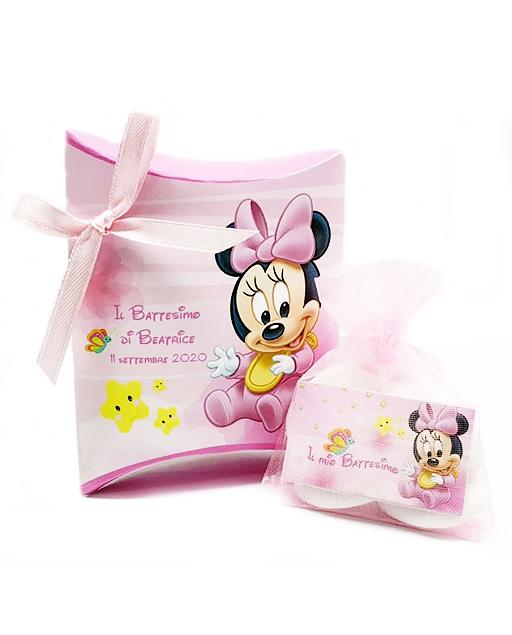 Scatolina portaconfetti Minnie Disney. Personalizzabilecon il vostro nome, o frase. Adatto per bomboniere battesimo, nascita, compleanno. Una bomboniera unica ed originale.
