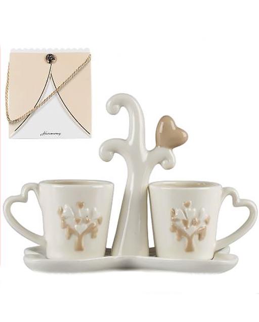 Bomboniere Matrimonio Tazzine.Bomboniera Set Due Tazzine Caffe Linea Harmony Millemotivi Com